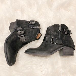 Black Western Style Ankle Boots